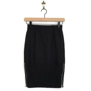 Wilfred Black Campagne Skirt Exposed Side Zipper 0